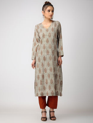 Black-Madder Dabu-printed Cotton Kurta with Pintucks