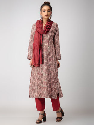 Madder-Black Dabu-printed Cotton Kurta with Pintucks