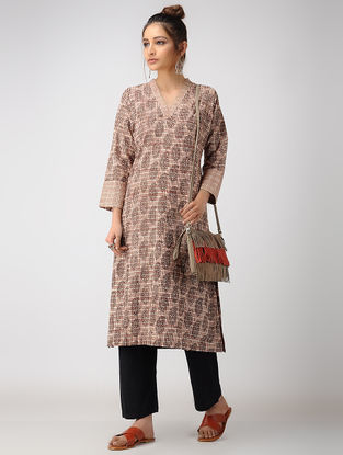 Madder-Black Dabu-printed Cotton Kurta with Pockets