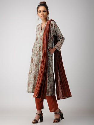 Black-Madder Dabu-printed Cotton Kurta with Pockets
