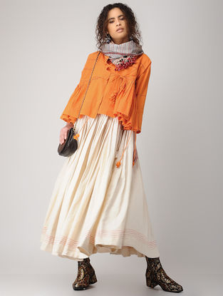 Orange Hand-embroidered Handloom Cotton Kedia Top with Tassels and Pocket