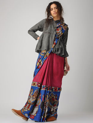 Grey Hand-embroidered Handloom Cotton Kedia Top with Tassels and Pocket