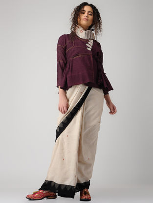 Maroon Hand-embroidered Handloom Cotton Kedia Top with Tassels and Pocket