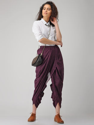 Purple Elasticated-waist Handloom Cotton Dhoti Pants