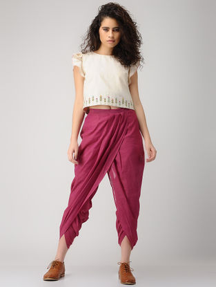 Pink Elasticated-waist Handloom Cotton Dhoti Pants