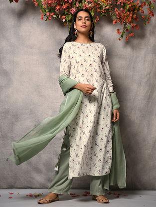 Ivory-Pink Printed Cotton Kurta with Zari Top-stitch and Tassels