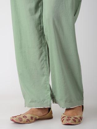 Green Tie-up Waist Cotton Pants with Zari Top-stitch