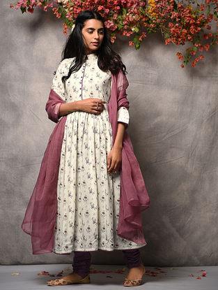 Ivory-Pink Printed Cotton Kurta with Zari Top-stitch