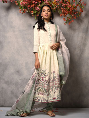 Ivory-Pink Printed Cotton Kurta with Zari Top-stitch