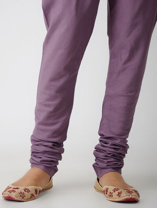 Purple Elasticated-waist Cotton Churidar