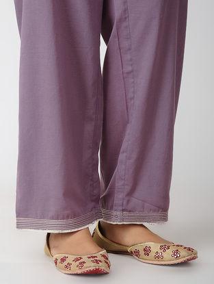 Purple Tie-up Waist Cotton Pants with Zari Top-Stitch