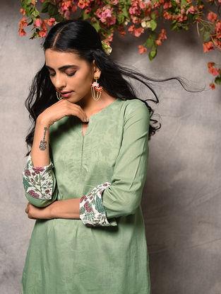 Green Printed Cotton Layered Kurta with Zari Top-stitch
