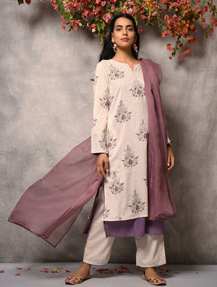 Ivory-Pink Printed Cotton Layered Kurta with Zari Top-stitch