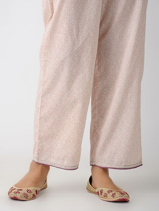 Ivory-Pink Elasticated-waist Printed Cotton Pants with Pockets