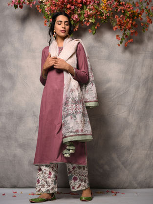 Pink Cotton Kurta with Pockets and Zari Top Stitch