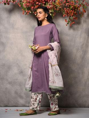 Purple Cotton Kurta with Pockets and Zari Top Stitch
