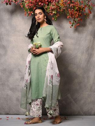 Green Cotton Kurta with Pockets and Zari Top Stitch
