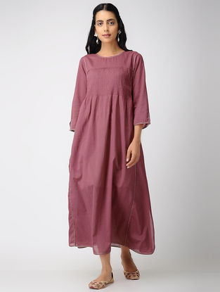 Pink Cotton Dress with Pintuck and Zari Top-stitch