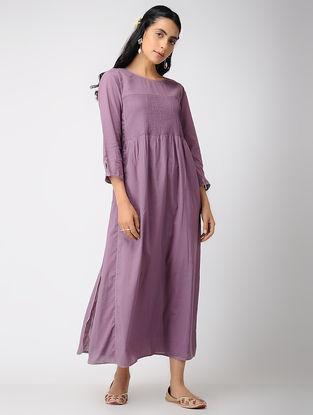 Purple Cotton Dress with Pintuck and Zari Top-stitch