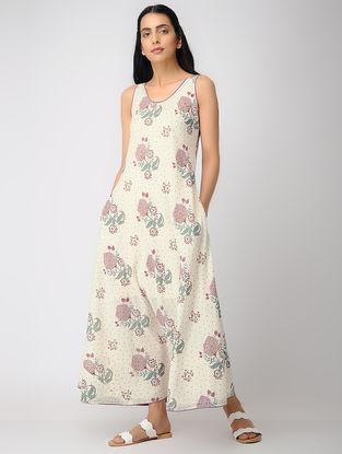 Ivory-Purple Printed Cotton Dress with Zari Top-stitch