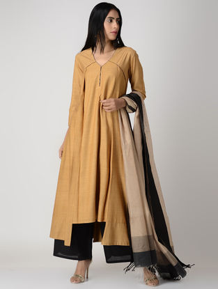 Mustard Pleated Matka Silk Kurta with Top Stitch
