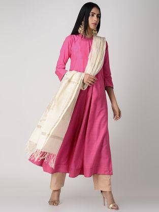 Pink Pleated Matka Silk Kurta with Top Stitch