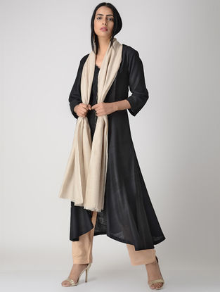 Black Pleated Matka Silk Kurta with Top Stitch