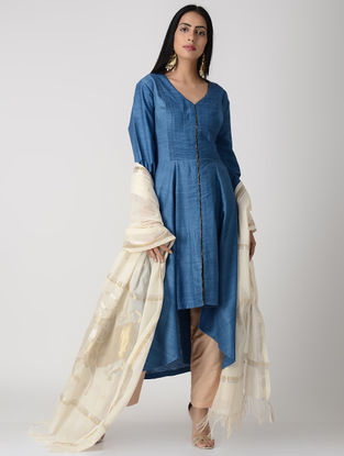 Blue Pleated Matka Silk Kurta with Top Stitch