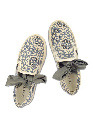 Grey-White Floral Block-Printed Cotton Shoes for Women