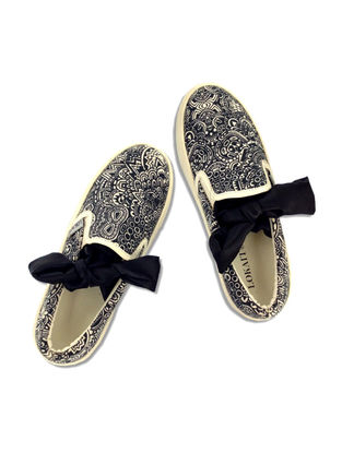 Black-White Handcrafted Cotton Shoes for Women
