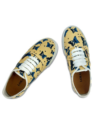 Yellow-Blue Handcrafted Cotton Shoes for Women