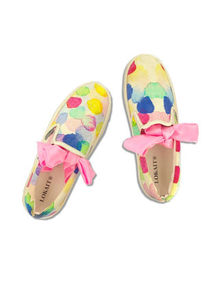 Multicolored Handcrafted Cotton Shoes for Women