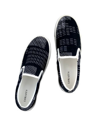 Black-Grey Handcrafted Cotton Shoes for Men