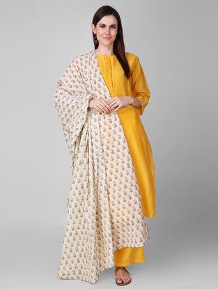 Ivory-Yellow Block-printed Cotton Dupatta
