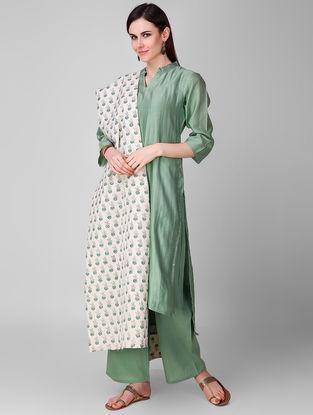 Ivory-Green Block-printed Cotton Dupatta
