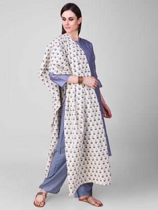 Ivory-Blue Block-printed Cotton Dupatta