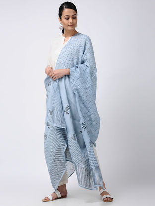 Blue-Black Block-printed Linen Dupatta