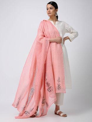 Pink-Maroon Block-printed Linen Dupatta