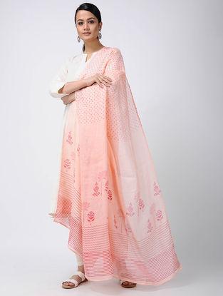 Peach-Pink Block-printed Linen Dupatta