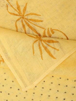 Yellow Block-printed Linen Dupatta