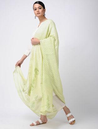 Green Block-printed Linen Dupatta