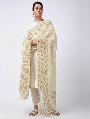 Ivory-Beige Block-printed Linen Dupatta
