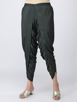 Green Elasticated Waist Cotton Silk Dhoti Pants