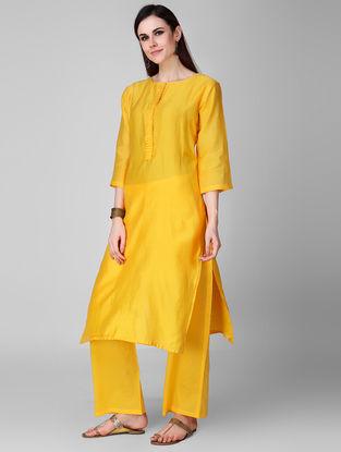 Yellow Elasticated Waist Cotton Palazzos