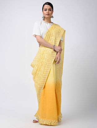 Yellow Block-printed and Ombre-dyed Linen Saree