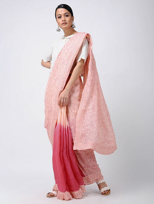 Ivory-Pink Block-printed and Ombre-dyed Linen Saree