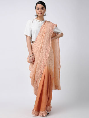 Orange-Red Block-printed and Ombre-dyed Linen Saree