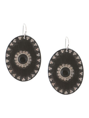 Black Wood and Silver Earrings