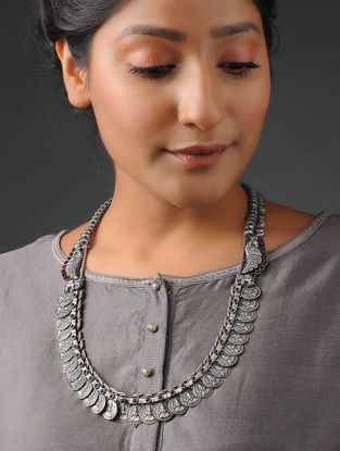 Pink Tribal Silver Necklace with Peacock Motif