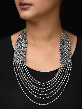 Pearl Beaded Tribal Silver Necklace with Peacock Motif